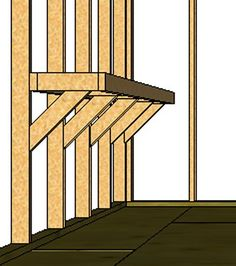 """how to build shelves in shed Well....my attached garage """"room/shed"""" is now my pantry and I need shelving....I have exposed beams so this may work?"""