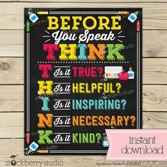 Think Before You Speak Sign - Classroom Rules - Classroom Decor - Teacher Appreciation - Classroom Printable - Classroom Sign - Teacher Gift Classroom Signs, Classroom Decor, Classroom Organization, Think Before You Speak, Wishes For Baby Cards, School Grades, Types Of Printer, Etsy App, Party Items