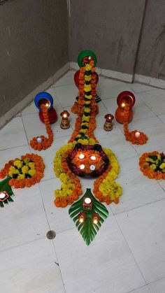 Floral design Rangoli Designs Flower, Rangoli Ideas, Flower Rangoli, Beautiful Rangoli Designs, Flower Designs, Diwali Decorations At Home, Reception Table Decorations, Festival Decorations, Birthday Decorations