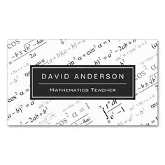 Math teacher business card tutor business card samples pinterest math teacher stylish mathematics formulas pattern double sided standard business cards pack of 100 this is a fully customizable business card and colourmoves