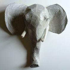 tete d'elephant papier maché 2