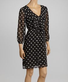 Black & White Polka Dot Surplice Dress #zulily #zulilyfinds