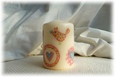 Candle hand decorated with Hearts - Blue £4.95