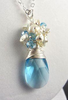 SALE  Aquamarine Blue Swarovski Crystal Cream by AstersInAugust, $52.00