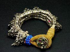 Kuchi old flexible silver spike bracelet - berbería