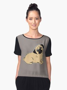 770ea314cfc Pug Art Women s Chiffon Top by Abigail Davidson at Redbubble Back To School  Outfits