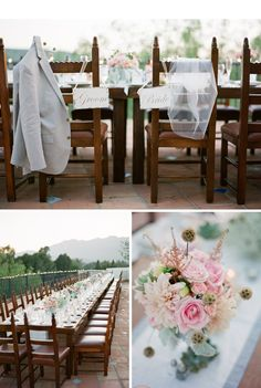 Flowers by @LaurylLane in a soft pink and peach palette with touches of gray finished out their table design.