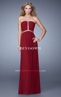 Sheer Back Jersey Garnet 2016 La Femme 21185 Prom Dress
