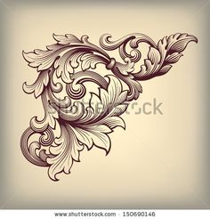 vector vintage Baroque scroll design frame corner pattern element engraving retro style ornament - stock vector