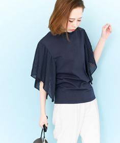 KBF プリーツスリーブTEE(Tシャツ/カットソー)|KBF(ケイビーエフ)のファッション通販 - ZOZOTOWN