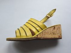 Vintage 1970s Yellow Wedge Sandals / 60s 70s Open Toe Summer Slingback Shoes / Size 6 by BasyaBerkman on Etsy