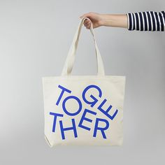 A roomy tote made from thick natural canvas, with durable double straps, and screen printed . Bag Packaging, Print Packaging, Types Of Lettering, Typography Inspiration, Mode Style, Apparel Design, Textiles, Canvas Tote Bags, Brand Identity