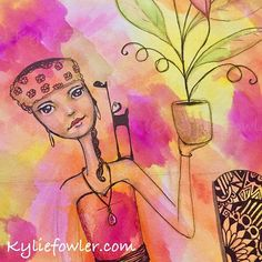 Tonight Art Journaling, while watching 'The Fugitive'. #kyliefowler #artjournaling #artjournal #artsuppliesaddict #mypassion #drawing #painting #ink #mixedmedia  #mixedmediaartist #aussieartist #luluart #artwork #girl #watercolour #tombow #watercolor #whimsical