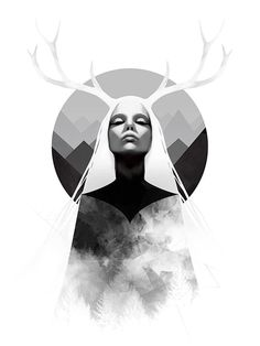 Art Print Nature Antlers Mountains Woman 18 x 24 by jefflangevin, $30.00