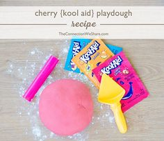 AWESOME Kool-Aid play-doh recipe! Flour, salt, koolaid, oil, and water. Super fun, cheap craft for a rainy day :)