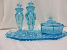 VintagTiffin Chipperfield Blue Dresser Set 2 Perfume Bottles, Tray, Powder Box