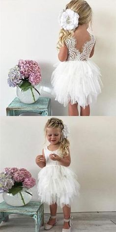 Ball Gown Jewel V-Back Tiered Tulle Cheap Flower Girl Dresses with Lace, – Flowers Cheap Flower Girl Dresses, Lace Flower Girls, Lace Flowers, Girls Dresses, Flower Girl Beach Wedding, Lace Flower Girl Dresses, Cheap Dresses, Flower Girl Outfits, Cheap Lace Wedding Dresses