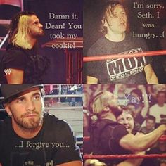 Seth don't pout it makes you look too adorable. #seth rollins #dean ambrose