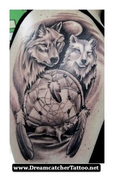 Dreamcatcher Tattoos With Wolf 21 - http://dreamcatchertattoo.net/dreamcatcher-tattoos-with-wolf-21/
