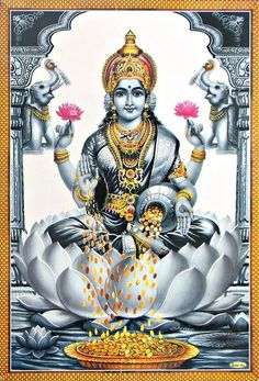 Lakshmi - Goddess of Wealth (Reprint on Paper - Unframed) Shiva Parvati Images, Shiva Hindu, Durga Images, Lakshmi Images, Shiva Art, Hindu Deities, Krishna Art, Hindu Art, Hinduism
