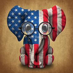 Baby Elephant with Glasses and American Flag | Jeff Bartels