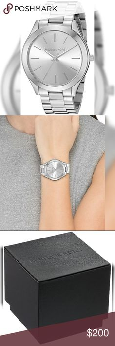 NWT Authentic Michael Kors Silver Runway Watch NWT Authentic Michael Kors Silver Runway Watch  The Slim Case on this Michael Kors Watch along with the Markers and Accents is Eye-Catching. The Watch has a Timeless Finish that adds Sleek Sophistication to any look.  Features: 42mm Round Case Water Resistant to 10m Stainless Steel Band  Comes with all Retail Packaging!!! Michael Kors Accessories Watches