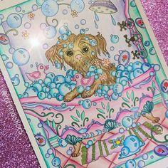 My first post! Dazzling Dogs coloring book. Art work by Marjorie Sarnat. #marjoriesarnat #dazzlingdogs #adultcoloringbook #adultcoloring #adultcolouring #creativehaven #puppy #beautifulcolours #beautifulcoloring #adultcoloringbooks #art #color #colour #pooch #bath #bubbles #kawaii