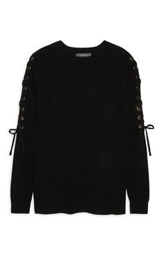 Primark - Black Lace Up Sleeve Jumper