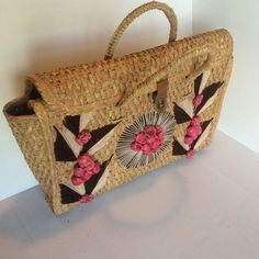 Handmade large travel/beach bag  Beautifully crafted wooden wefthed bag. Some wear but still perfectly intact. Perfect for  vacations, summer outings, pool, beach and picnics  *** I do bundled deal *** Bags