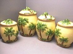Tropical Interior, Tropical Decor, Coastal Living, Coastal Decor, Queen Palm Tree, Amish White Bread, Palm Tree Decorations, Kitchen Canister Sets, Rv Storage