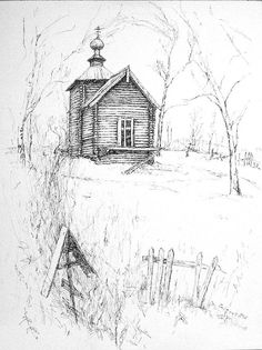 St. Nicholas Church ~ Vasilievskoje village near Moscow (pen & ink drawing by Alexandria Cook)