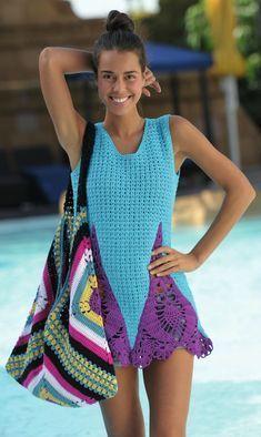 crochelinhasagulhas: Vestido e bolsa em crochê