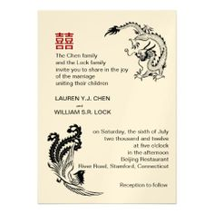 18 best invitation images on pinterest invitation invitations and shop modern dragon phoenix chinese wedding invitation created by riverme stopboris Choice Image