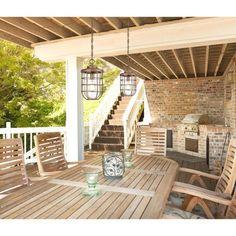 The Best Free Outdoor Deck Plans and Designs: Decks: Wood or Composite? Build Outdoor Kitchen, Outdoor Dining, Outdoor Spaces, Outdoor Decor, Outdoor Kitchens, Outdoor Ideas, Dining Table, Outdoor Hanging Lights, Outdoor Lighting