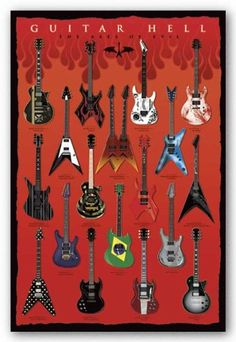 Pyramid America Guitar Hell The Axes of Evil Cool Wall Decor Art Print Poster Heavy Metal, Black Metal, Vintage Guitars For Sale, Guitar Posters, Cool Wall Decor, Famous Guitars, Guitar Gifts, Guitar Photography, Poster Prints