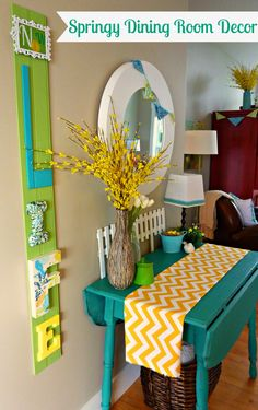 Springy Dining Room Decor at thehappyhousie