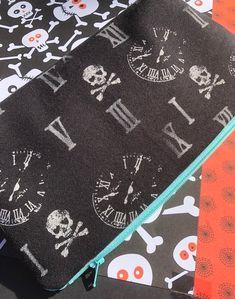 Skulls, Clocks, and Roman Numerals Cosmetic Bag