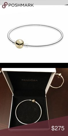 🎀STUNNING AUTHENTIC TWO TONE PANDORA BANGLE🎀 🎀LIKE NEW GORGEOUS AUTHENTIC 14k YELLOW GOLD AND STERLING SILVER PANDORA BANGLE 🎀NO LOW BALLING 🎀 Pandora Jewelry Bracelets