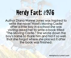 Nerdy Fact: Diana Wynne Jones (RIP, we miss you!!) and Howl's Moving Castle