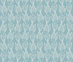 Fish on Blue fabric by onelittleprintshop on Spoonflower - custom fabric