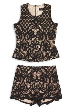 Free shipping and returns on Bardot Junior 'Jessie' Lace Tank & Shorts Set…