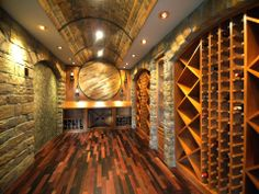 Exotic Wine Room | Recycled Wine Barrel Flooring