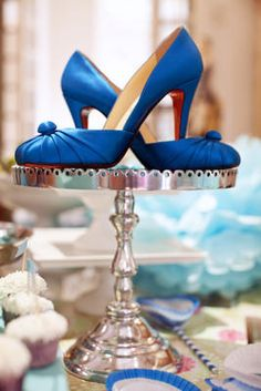 """Party centerpiece from the """"something blue"""" bridal shower I threw for Christina: Louboutins, baby."""