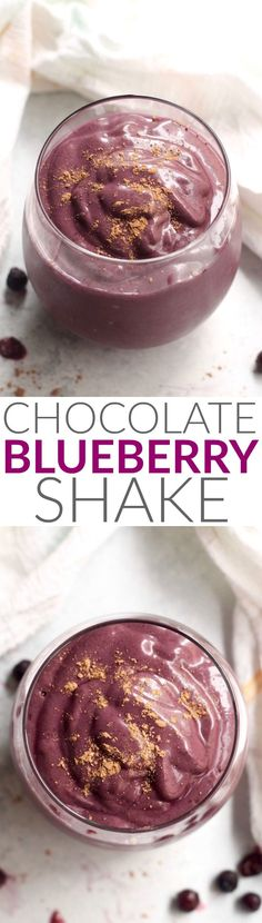 This Creamy Chocolate Blueberry Shake is decadent, packed with superfoods, and totally naturally sweetened! Enjoy it for breakfast topped with granola or as an afternoon snack. Vegan and gluten-free.
