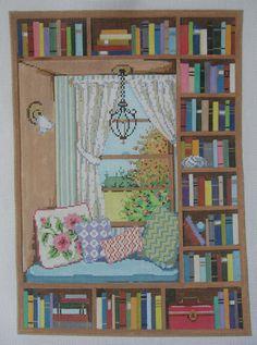 Handpainted Needlepoint Canvas Sandra Gilmore Window Seat 18-1041 #SandraGilmore