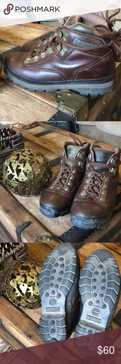 Timberland hiking boots Excellent condition Timberland hiking boots. Size 8.5 Women's, fit true to size. Dark brown leather with green accents on tongue and rim. Some typical scuffs and discoloration. Timberland Shoes