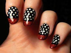 cool polka dot and red polish (not my nails)