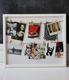 Clothesline Photo Display Shadow Box -