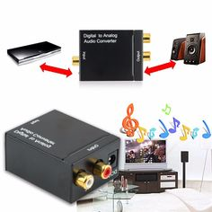 Digital Optical Coaxial Toslink Signal to Analog Audio Converter Adapter  Coaxial RCA Digital To Analog Audio Converter
