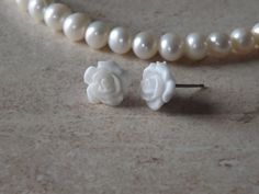 Rose White Cartilage Tragus Earring Body Jewelry by Yourjewelryhut